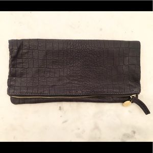Clare Vivier Snaked Embossed Fold-Over Clutch Bag